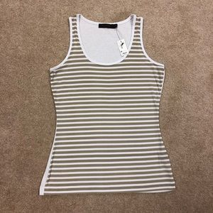 The Limited tan and white striped tanktop SZ M NWT